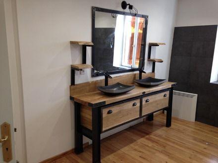 meuble sdb style industriel en bois et