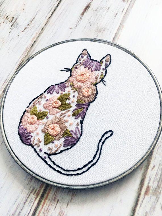 Silueta de gato gato bordados mano bordados arte Floral | bordado ...