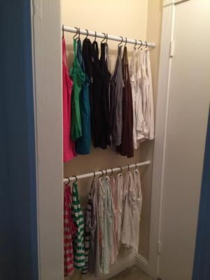 Idea To Organize And Tank Tops Camis Using A Shower Curtain Rod S Hooks Plus Even More Ideas On Home Storage Solutions 101