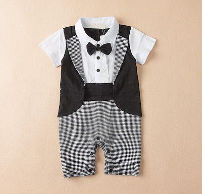 ca6ed90dd Boys Newborn Infant Baby Kids Romper Gentleman Bodysuit Outfit ...