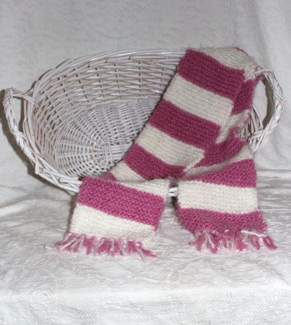 Angel Hair Hand Knit Scarf in Bright Pink and by StitchinGalTX