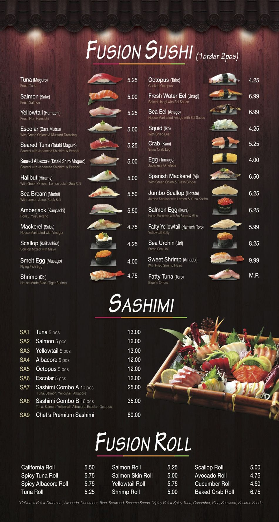 Menu - Fusion Sushi Japanese Restaurant | Manhattan Beach ...
