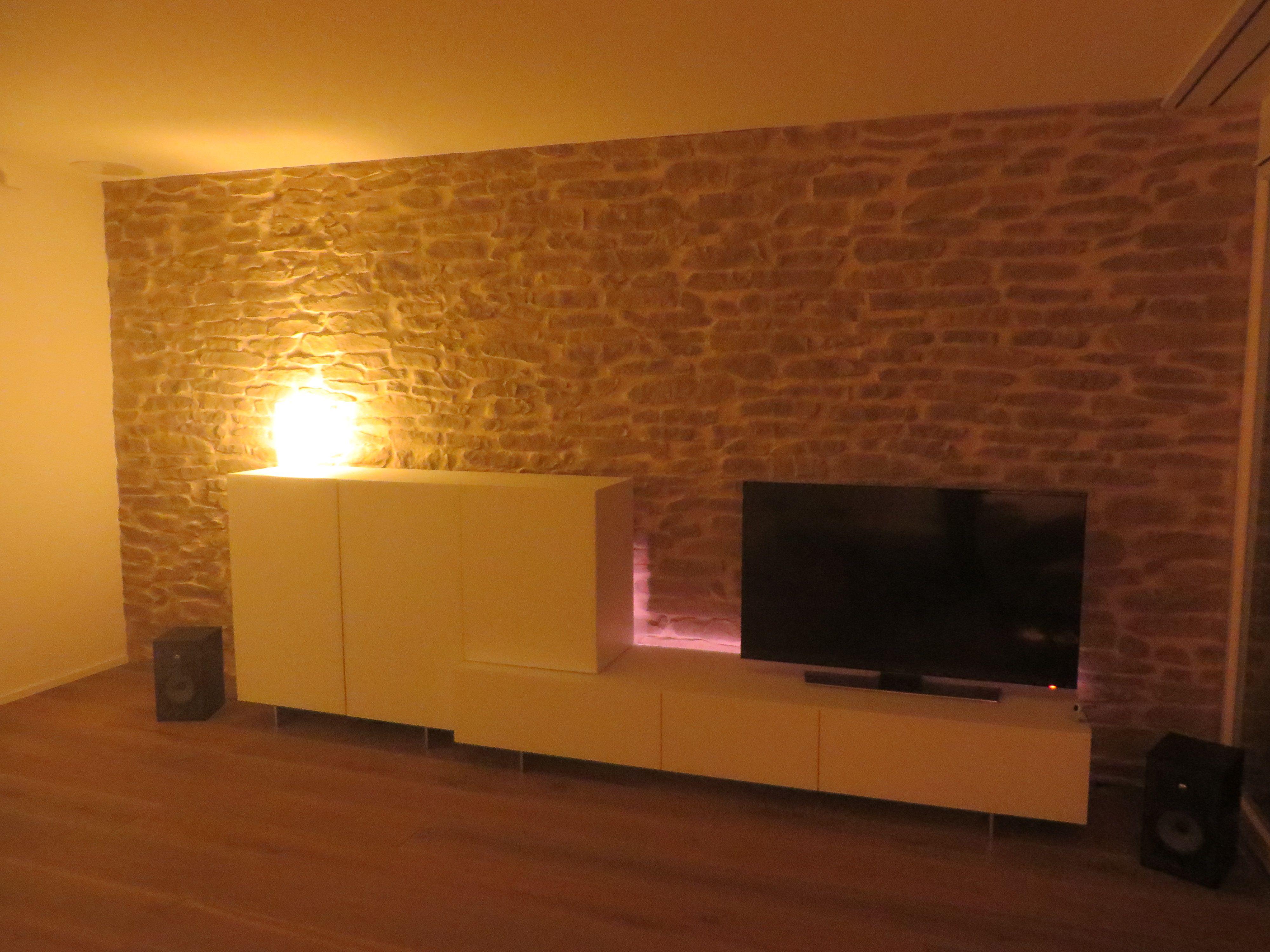Wohnzimmerwand Stein Optik Lajas