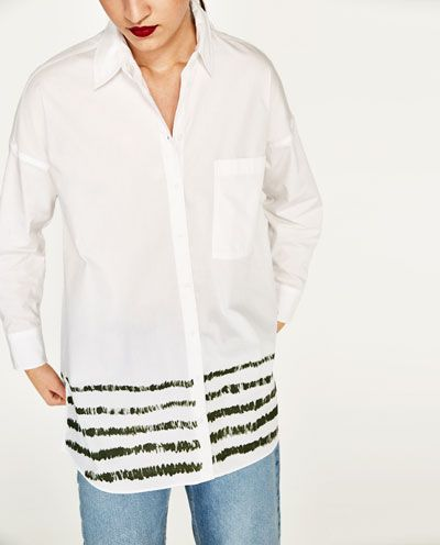 1e5fca7080 Image 2 of OVERSIZED SHIRT WITH STRIPED HEM from Zara | Spring ...