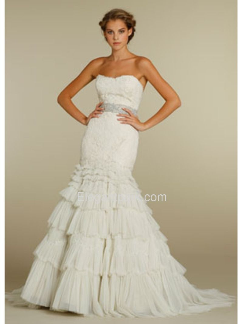 Fit and flare dress wedding  Fit and Flare Tiered Sweetheart Court Train Netting Wedding Dress