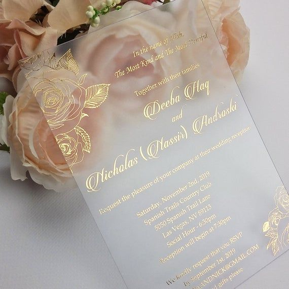 Frosted wedding invitations calligraphy frosted gold opal
