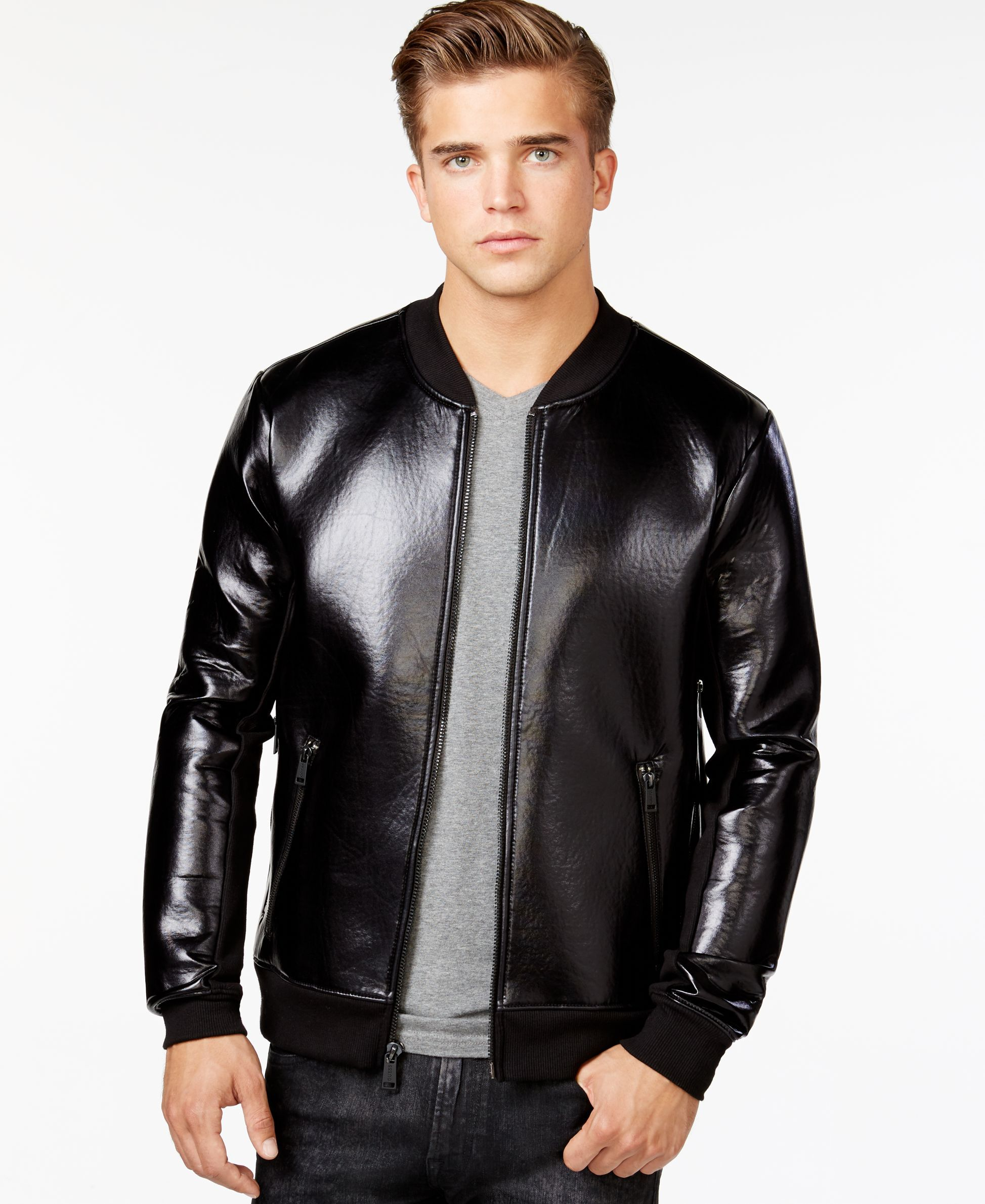 Guess Neoprene Zip Bomber Jacket Coats Jackets Men Macy S Leather Jacket Men Leather Jeans Men Leather Jacket Black [ 2378 x 1947 Pixel ]