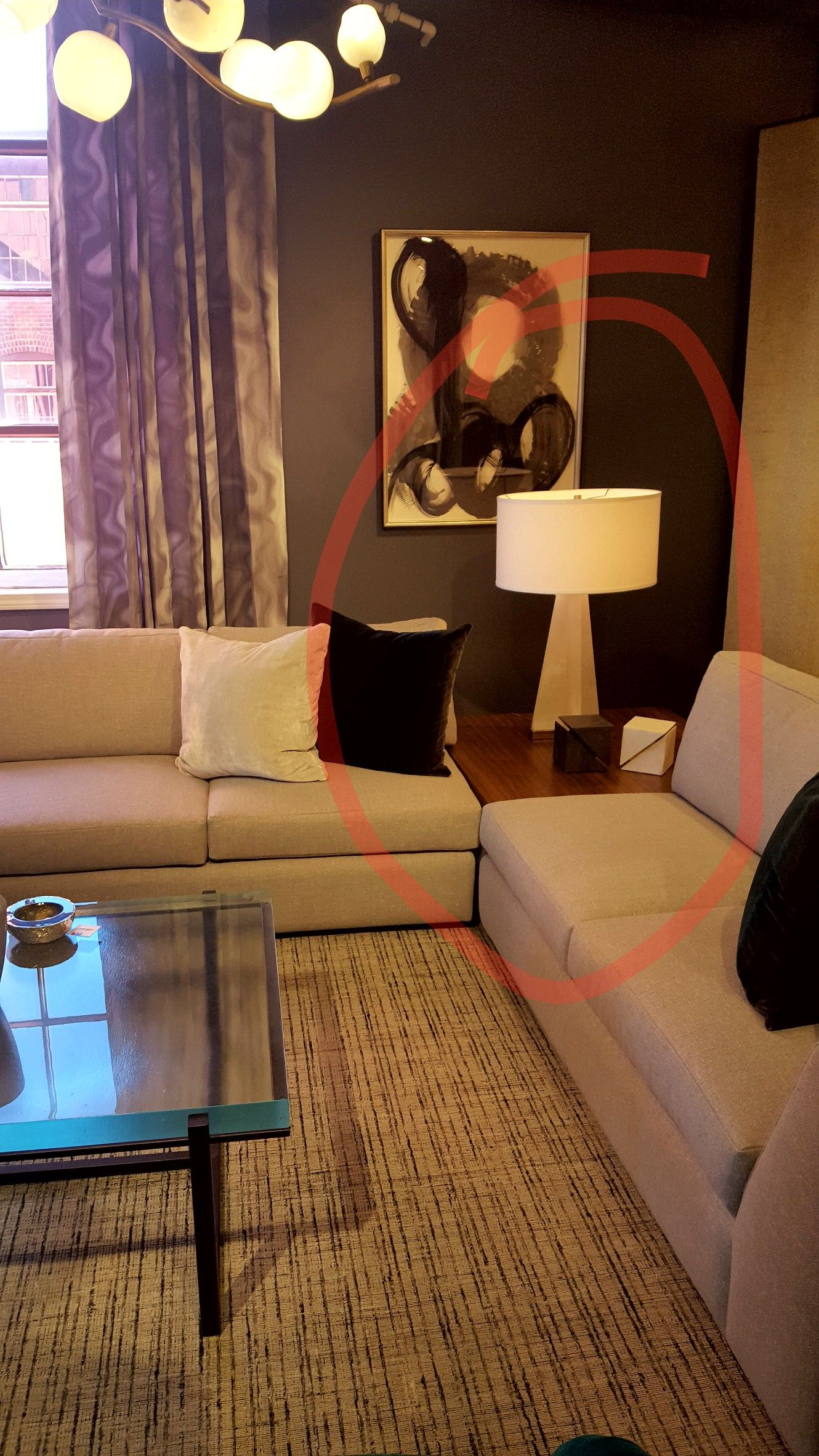 2 Armless Sofas With Equal Height Corner Table Corner Table Living Room Sofa End Tables Corner Table #two #sectionals #in #living #room
