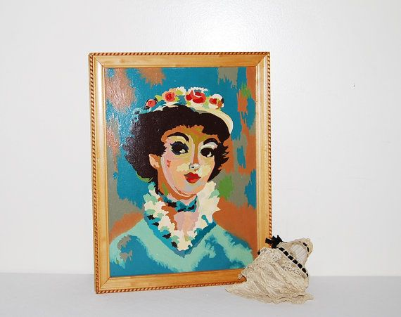 Vintage Paint by Numbers Pretty Lady in by CheekyVintageCloset