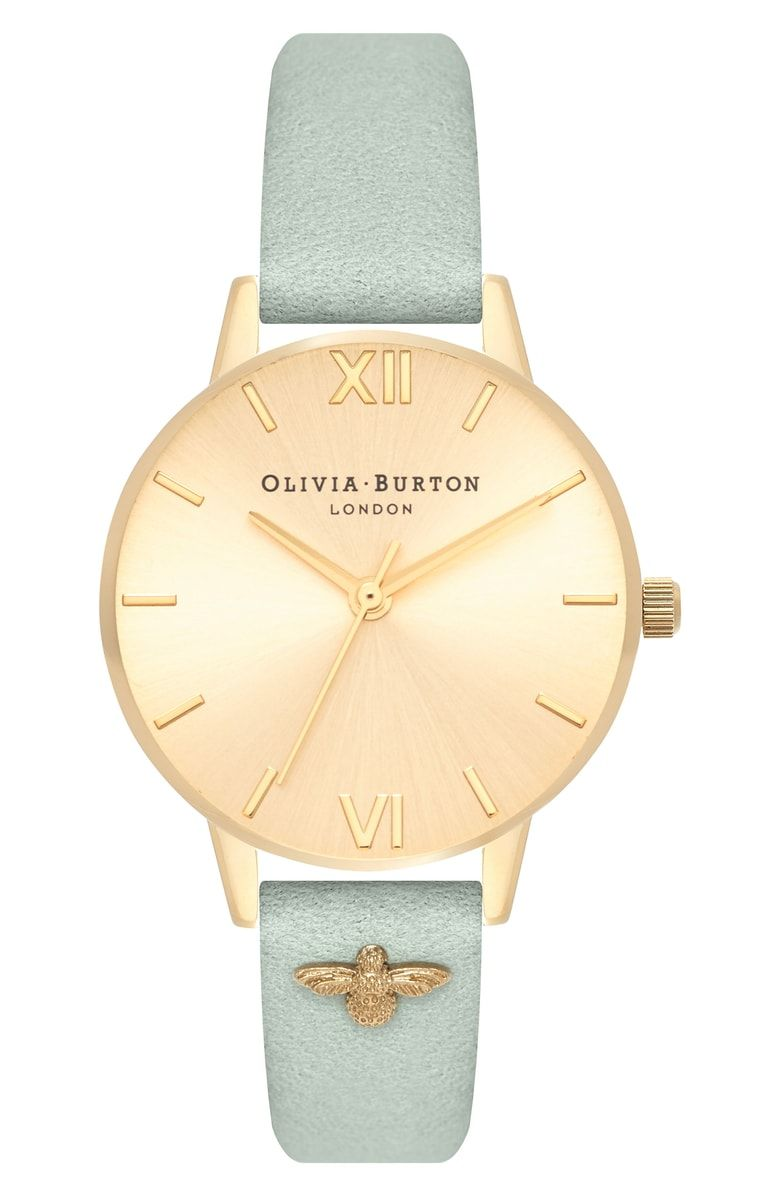 f0175ed83 Bee Leather Strap Watch, 30mm, Main, color, Sage/ Gold | Watches ...