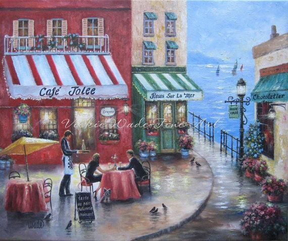 French Wall Art french cafe art print, lovers in france,the sea, french