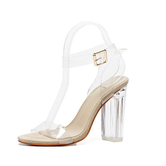 bedb1efedf2 Women gladiator sandals ladies pumps thick high heels shoes woman Crystal Clear  Transparent ankle strap party wedding shoes