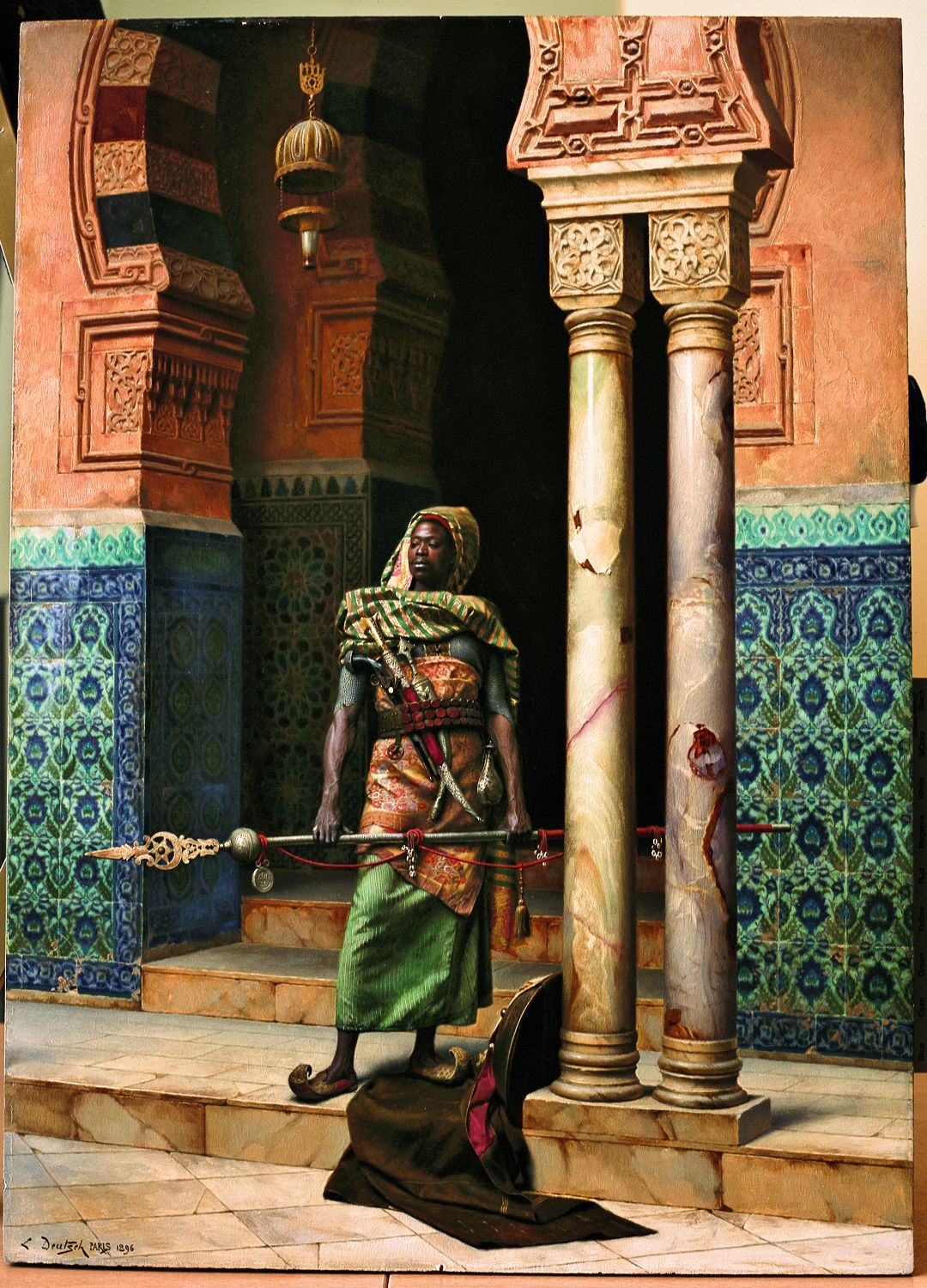 a molthaven noble stands near the entrance to his garden one