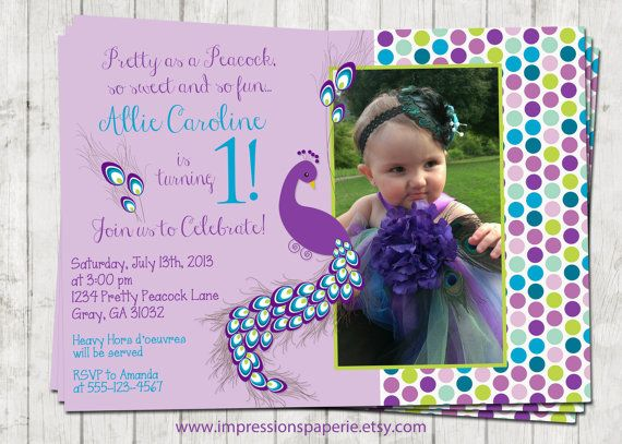 Pretty Peacock - A Custom Photo Birthday Invitation by Best - invitation card for ist birthday