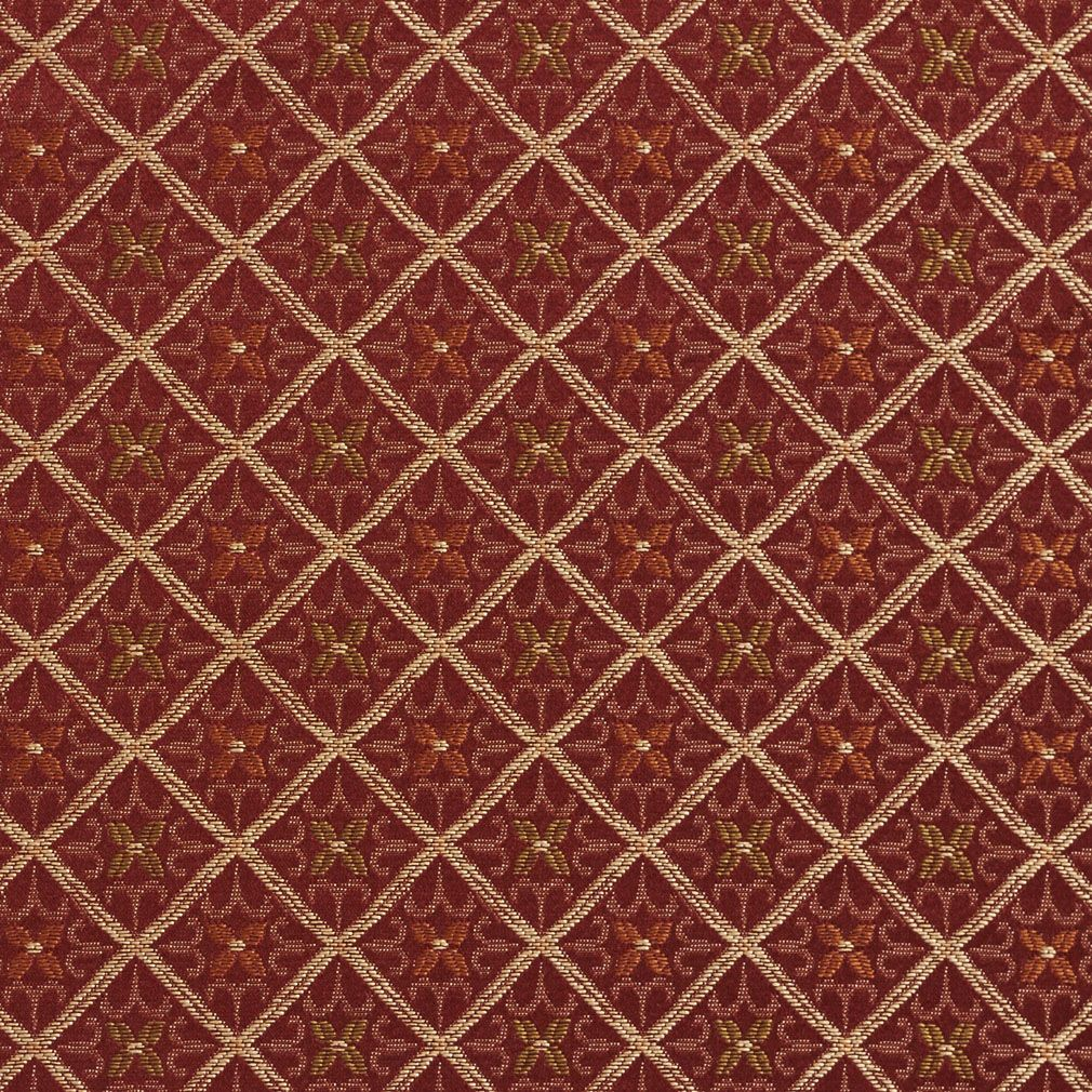 E659 Diamond Red Gold And Green Damask Upholstery Fabric By The