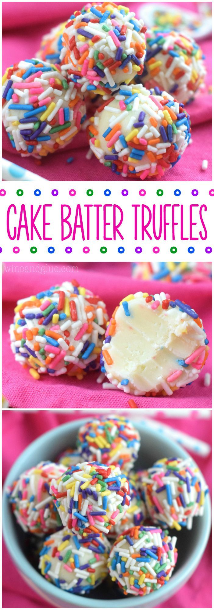 Cake Batter Truffles are made in the microwave!  And so so so yummy!  Good luck only eating one!
