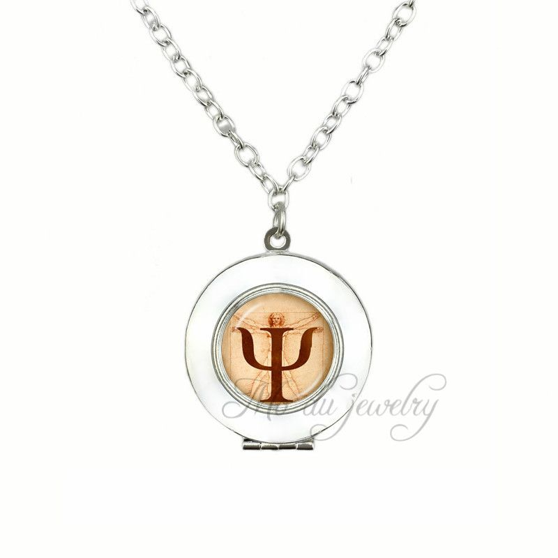 Psi Symbol Locket Pendants Necklaces Psychology Glass Locket Pendant