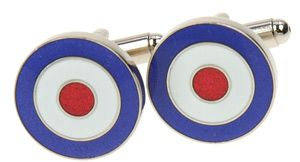 lapel pin +tie slide set Royal Air Force Mods Scooters RAF Roundel Cufflink