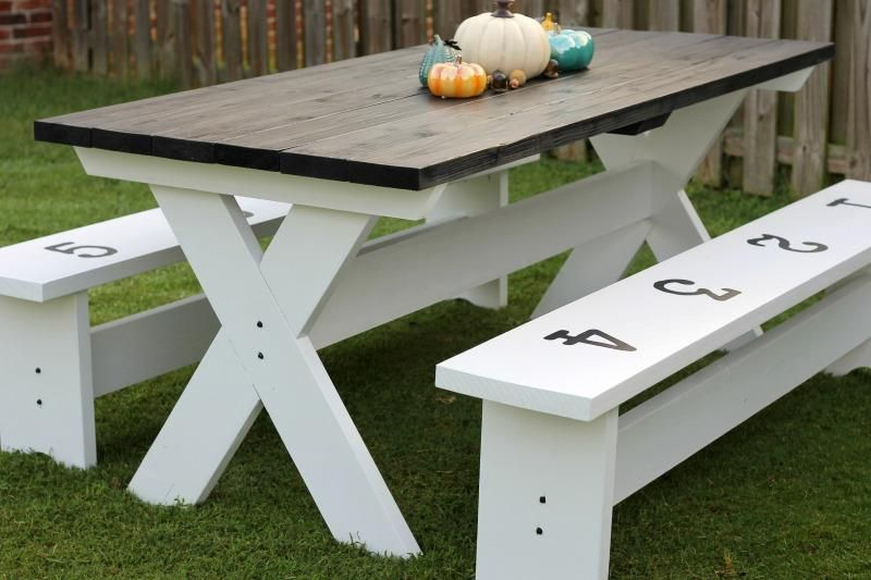 How To Build A Farmhouse Picnic Table Picnic Table Plans