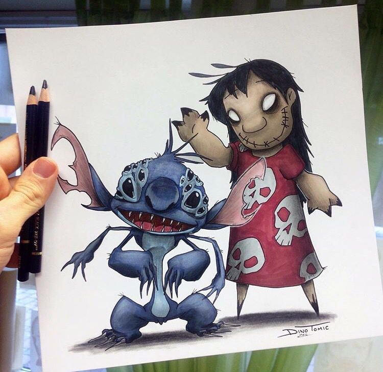 Lilo Stitch Creepified Lilo And Stitch Drawings Drawing Cartoon Characters Creepy Drawings