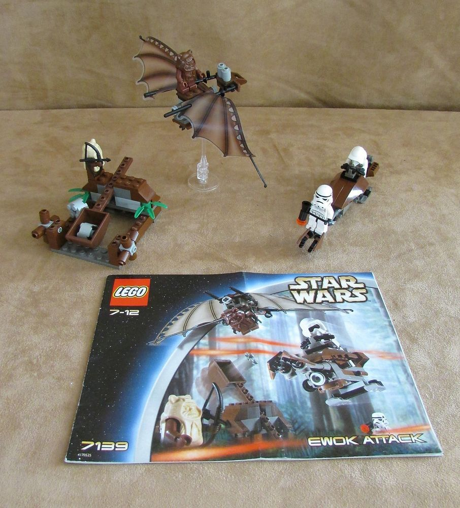 7139 Lego Complete Star Wars Episode Iv Vi Ewok Attack Vintage