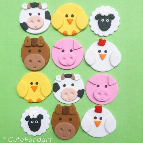 Farm animal cupcake toppers! #pigcupcakes #pigcupcake #pigtheme #pigbirthday #pigparty #pigfondant #pig #littlepiggy