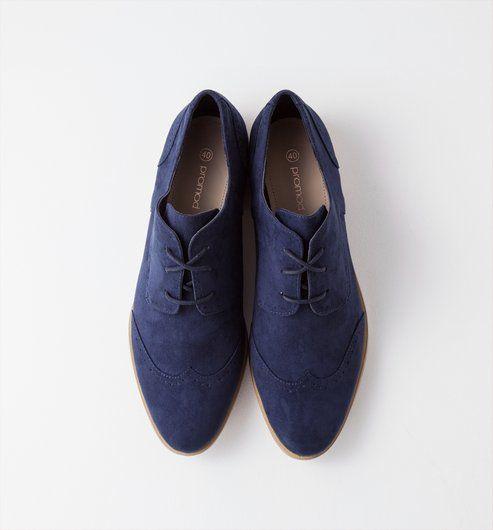 Derbys A Bout Fleuri Femme Bleu Fonce Promod Chaussures Plates