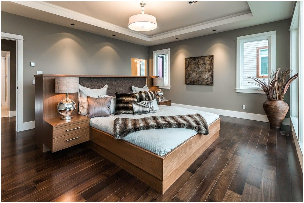 Light Grey Walls With Dark Wood Furniture Master Bedroom Colors With Dark W