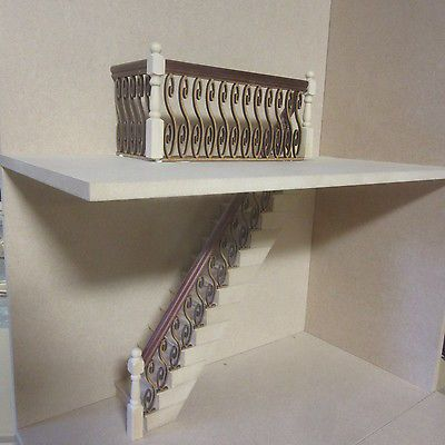 Best Stairs Banister Set Inc Stair Treads Mahogany Handrail Dolls House Item Dhd73 Doll House 400 x 300