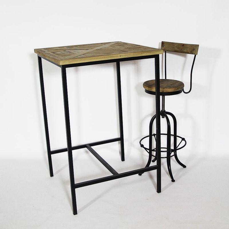 Mange debout industriel bois et métal | Table mange debout, Mange debout bois, Mange debout