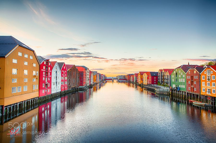 Sunset in Trondheim city last year by Raafoto. @go4fotos