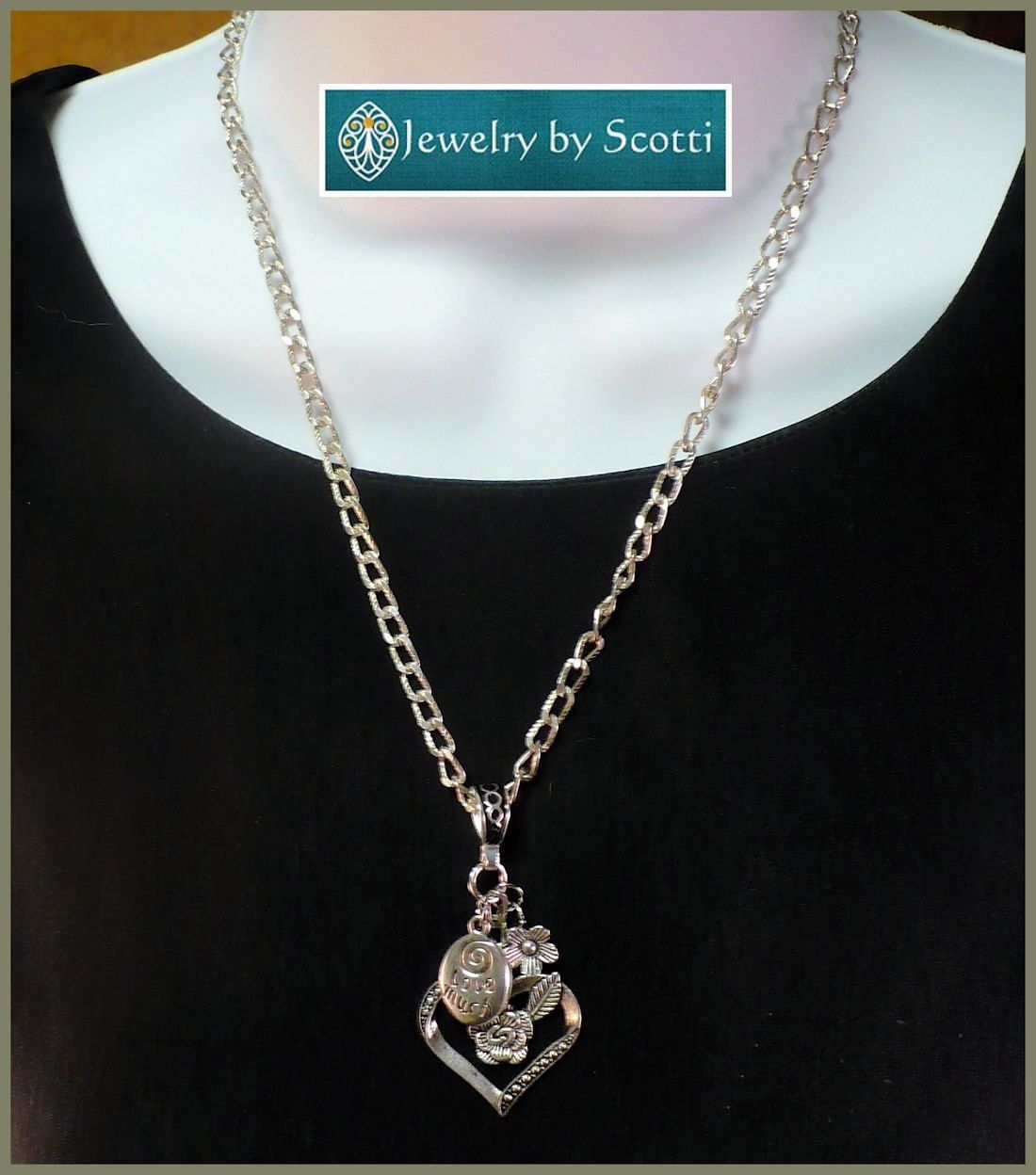 Silver chain pendant necklace large heart charm love much laugh large silver heart charm chain necklace her heart necklace her flower necklace her mozeypictures Images