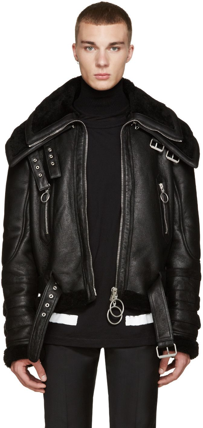 OffWhite Black Shearling DoubleCollar Jacket Leather