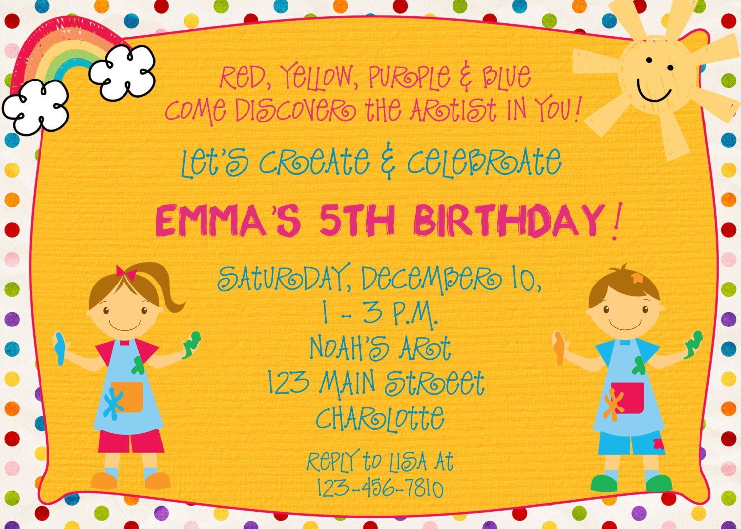 Paint party birthday invitation art party by TheButterflyPress, via ...