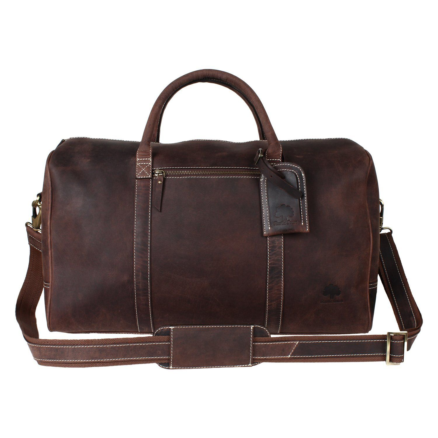 04a925a3b2d1 Rustic Town Crazy Horse Leather Duffel Bag Gift for men Leather Travel Bag  (Dark Brown)  Amazon.co.uk  Luggage