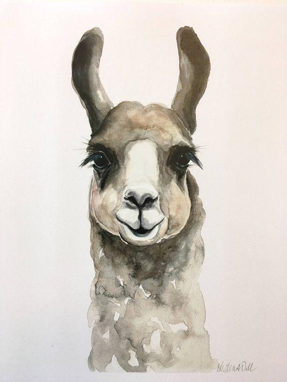 Brown Llama Aquarelle Print En 2020 Animaux D Aquarelle