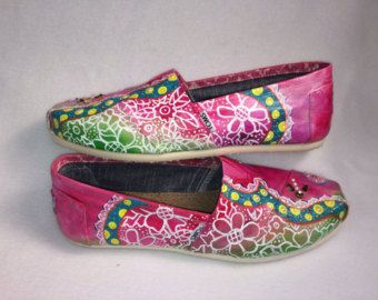 size 8.5 one of a kind hand painted shoes by LaurenSuzanneGlick