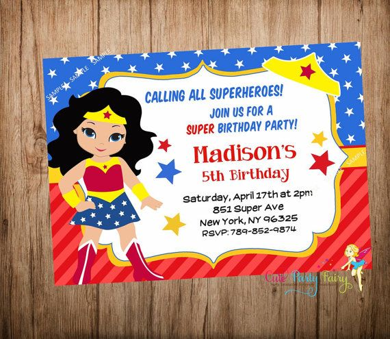 Wonder Woman Party Invitation By Cutepartyfairy Superhero Birthday 6th Parties