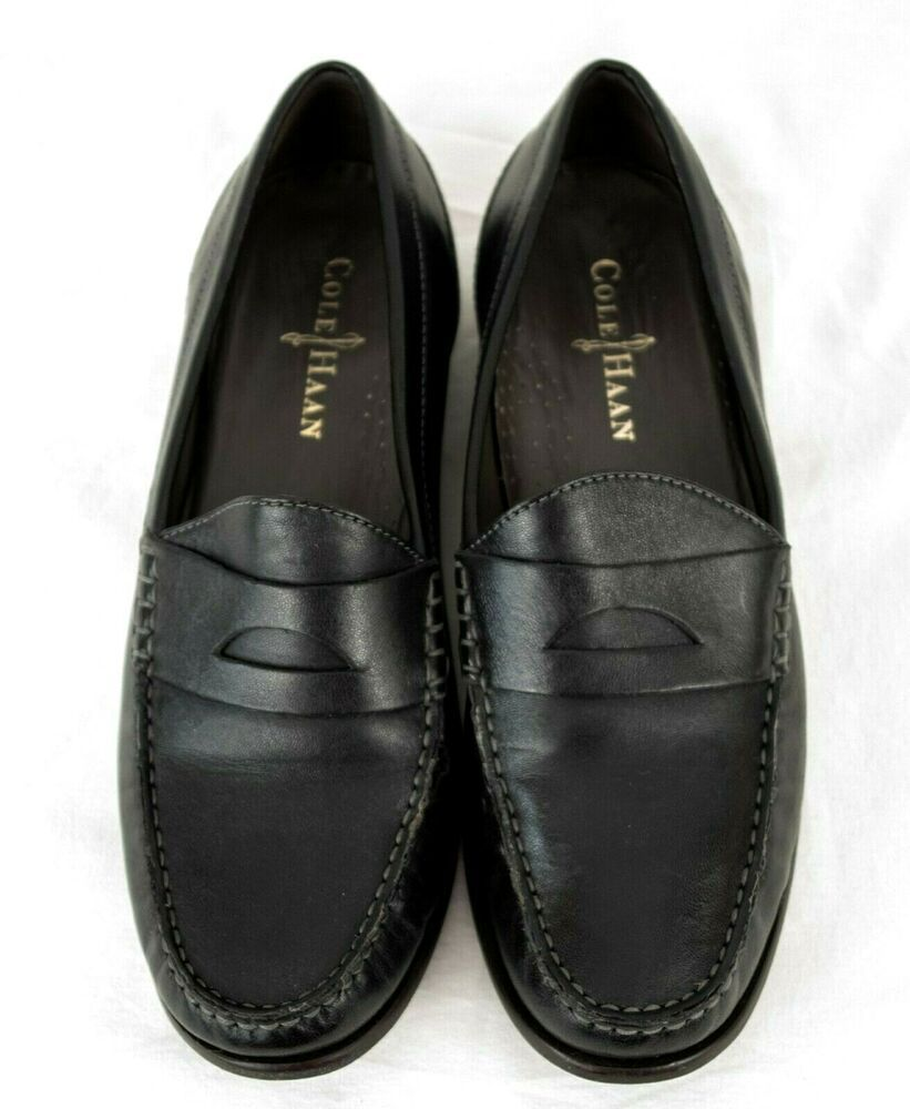 Cole Haan Black Leather Penny Loafers