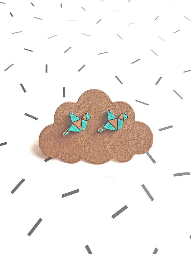 Photo of Origami Bird Earring, Geometric Origami Stud, Laser Cut Wooden Jewellery