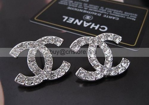 Latest Vintage Chanel Double C Diamond Studs Earrings