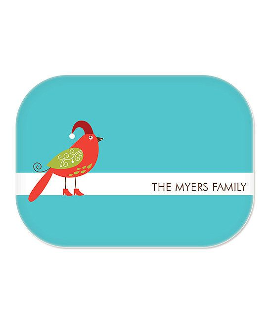 Teal Christmas Bird Personalized Platter