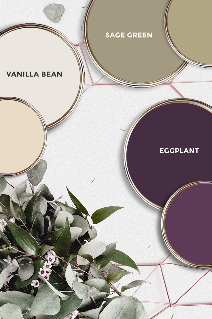 What paint colors are the best fit for Sage Green, Vanilla Bean and Eggplant? Some ideas.... #decor #interiordesign #homedecor #masterbedroom #paint