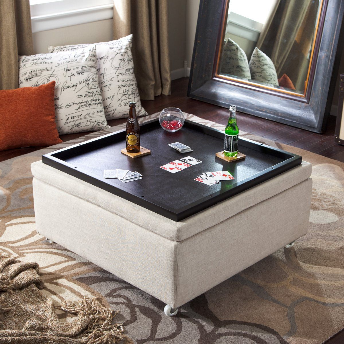 Espresso Coffee Table With Storage: Corbett Linen Coffee Table Storage Ottoman