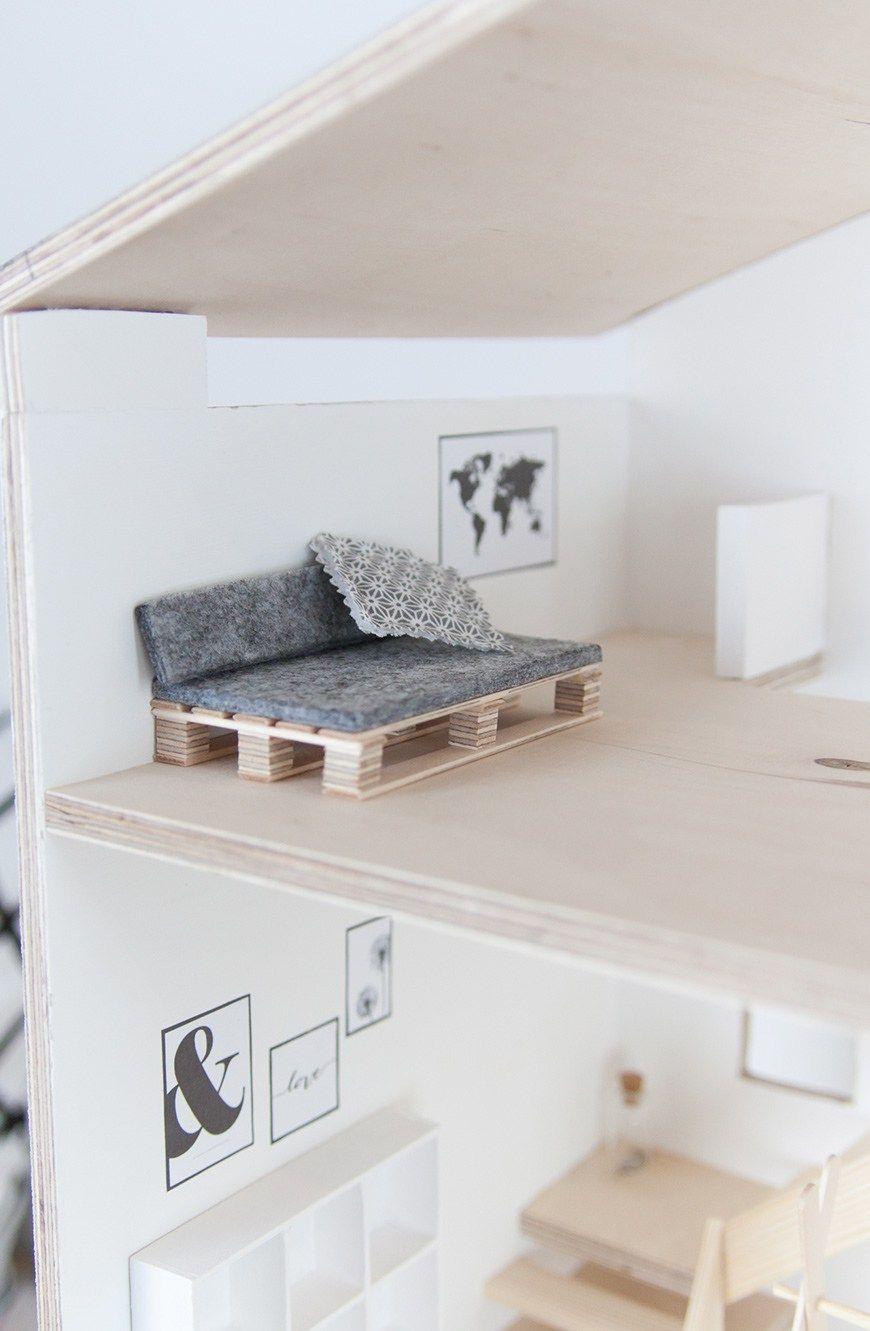 Selbstgebautes Puppenhaus im Skandi-Look mit Anleitung #dollhouseaccessories