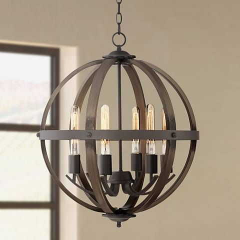 Kimpton 6 Light 21 Wide Dark Bronze Orb Chandelier 1f061 Lamps Plus Orb Chandelier Rustic Chandelier Led Light Fixtures