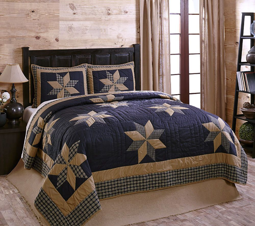 navy blue tan patchwork quilt set by
