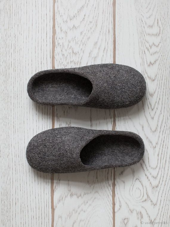 f31b89618daa7 Men slippers with soles, Felted slippers, Organic wool men house ...