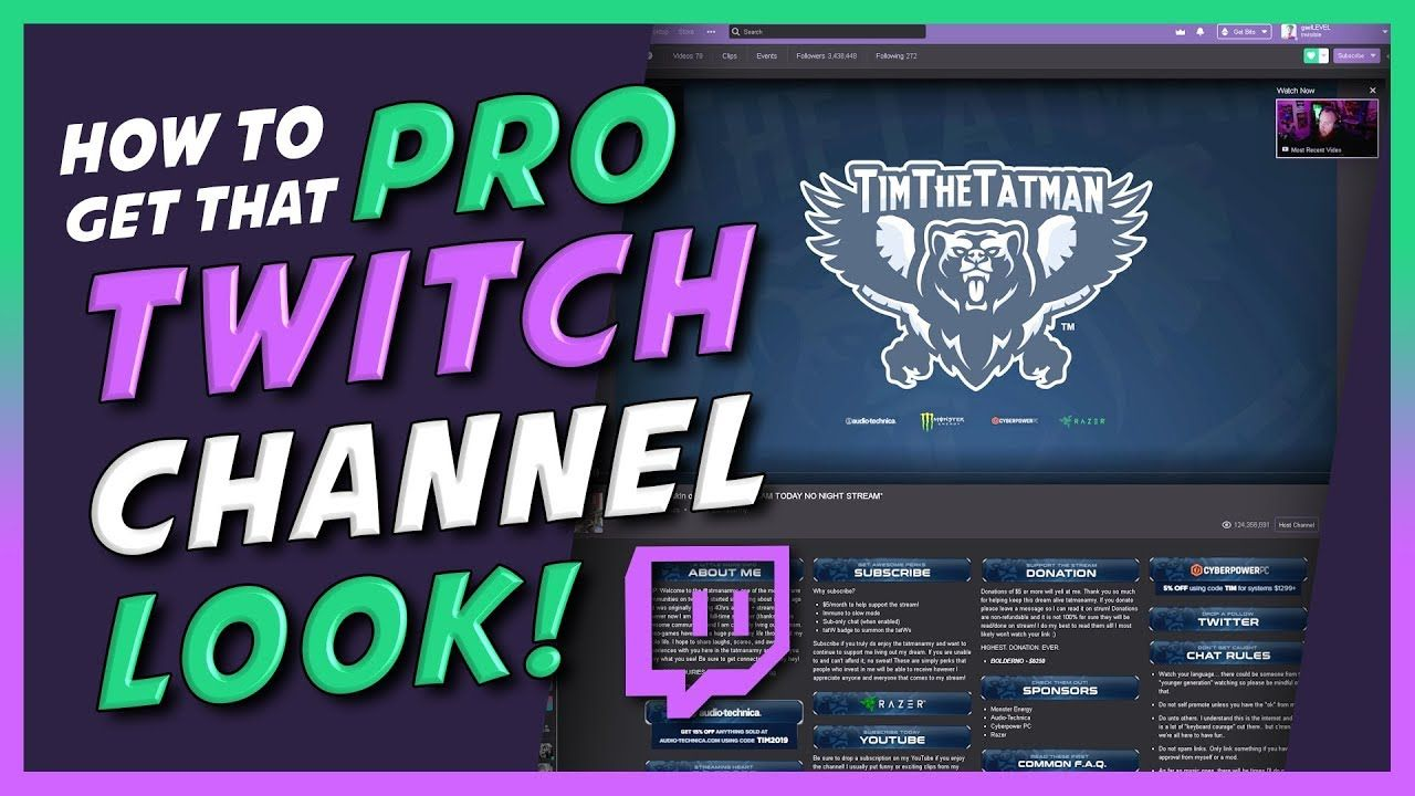 Customize Your Twitch Channel Like A Pro In Depth Step By Step Tutorial Youtube Twitch Channel Twitch Twitch Streaming Setup