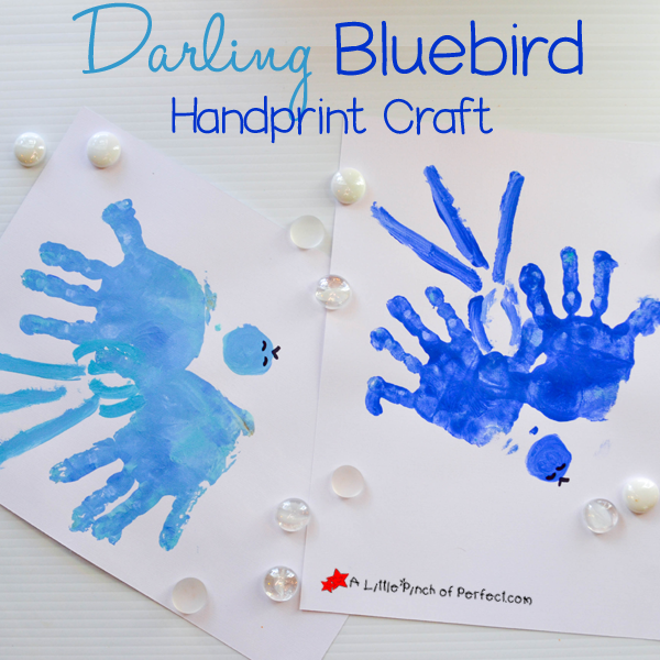 Use your kid's handprints to easily paint a bird flying through the sky. They will be so excited to see their little hands transformed into a work of art and you will want to keep it forever because it's so sweet! We made our birds blue but you could always use any color you like…I …